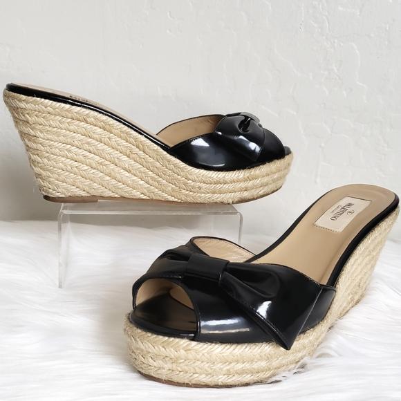 Valentino Patent Leather Mena Bow Espadrille Wedge Platform Sandal Shoes $395